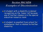 section 504 ada examples of discrimination