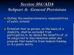section 504 ada subpart a general provisions