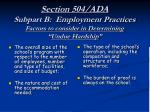 section 504 ada subpart b employment practices factors to consider in determining undue hardship
