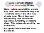comprehension strategy prior knowledge te144a