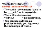 vocabulary strategy suffixes able and prefixes un1