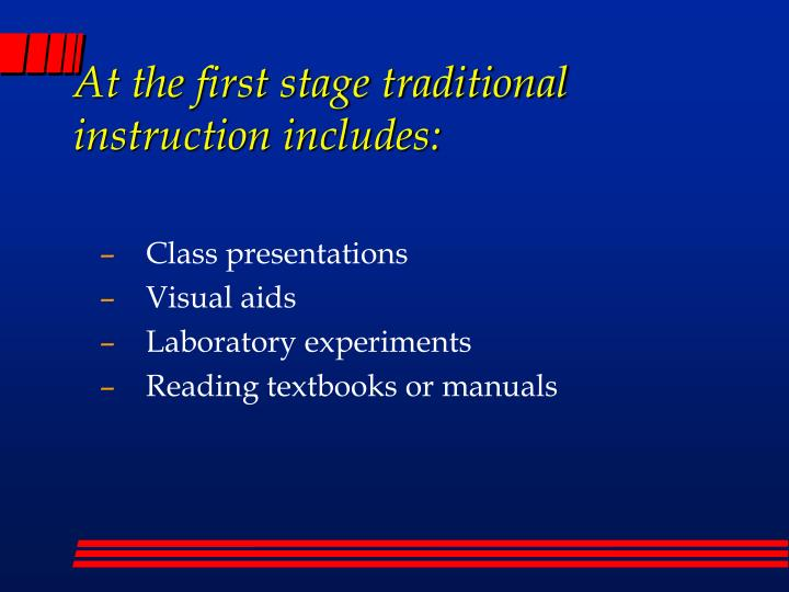 At the first stage traditional instruction includes:
