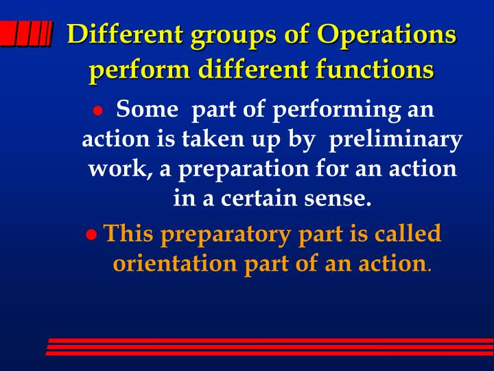 Different groups of Operations perform different functions