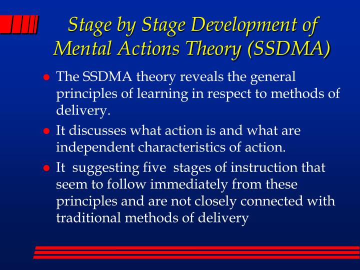 Stage by Stage Development of Mental Actions Theory (SSDMA)