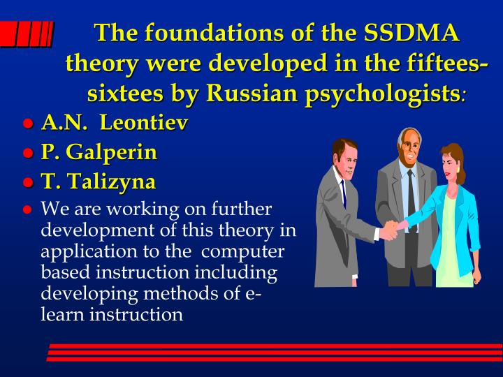 The foundations of the SSDMA theory were developed in the fiftees-sixtees by Russian psychologists