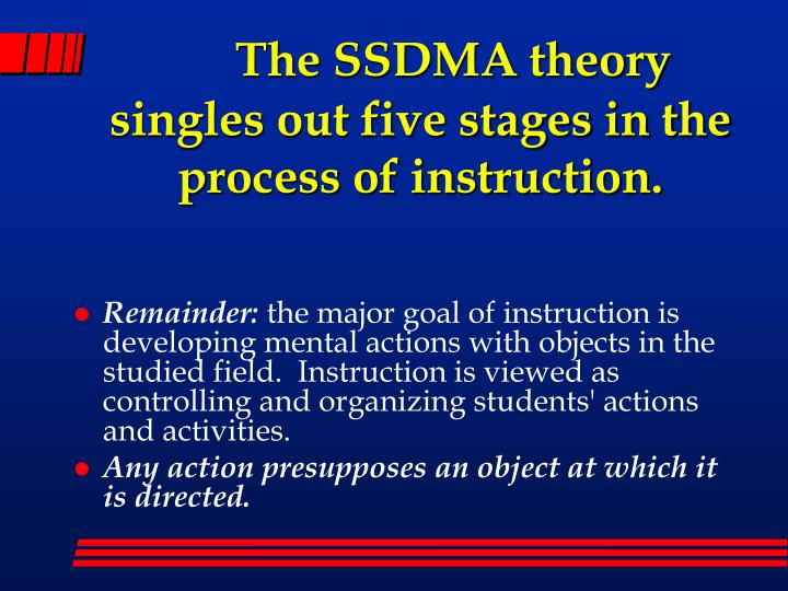 The SSDMA theory singles out five stages in the process of instruction.