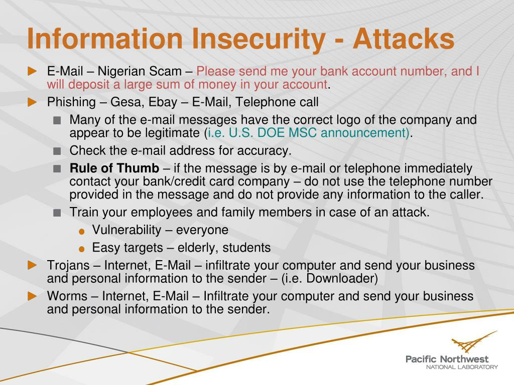 Information Insecurity - Attacks
