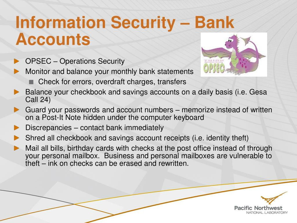 Information Security – Bank Accounts