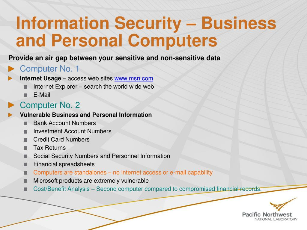 Information Security – Business and Personal Computers