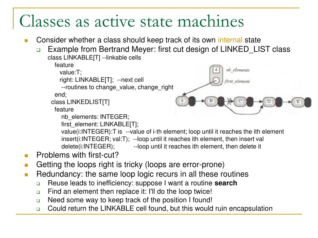 Classes as active state machines