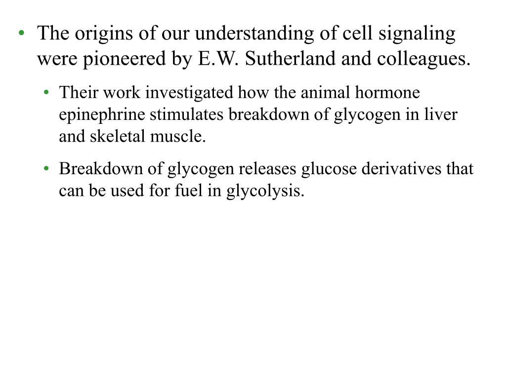 The origins of our understanding of cell signaling were pioneered by E.W. Sutherland and colleagues.