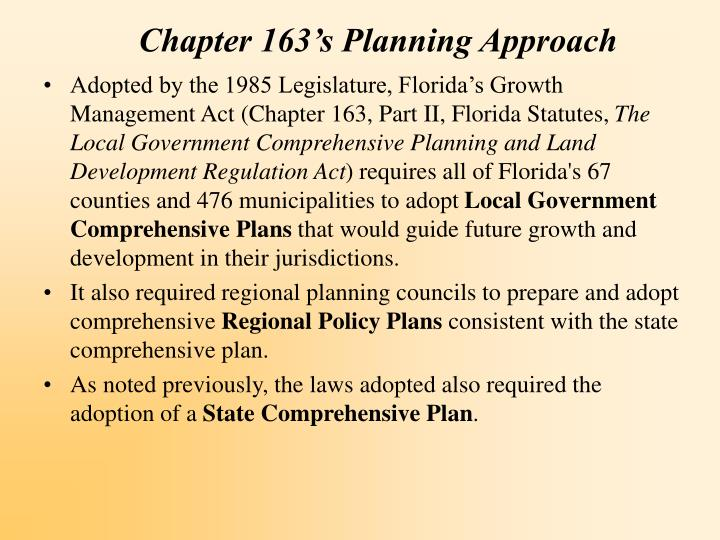 Chapter 163 s planning approach