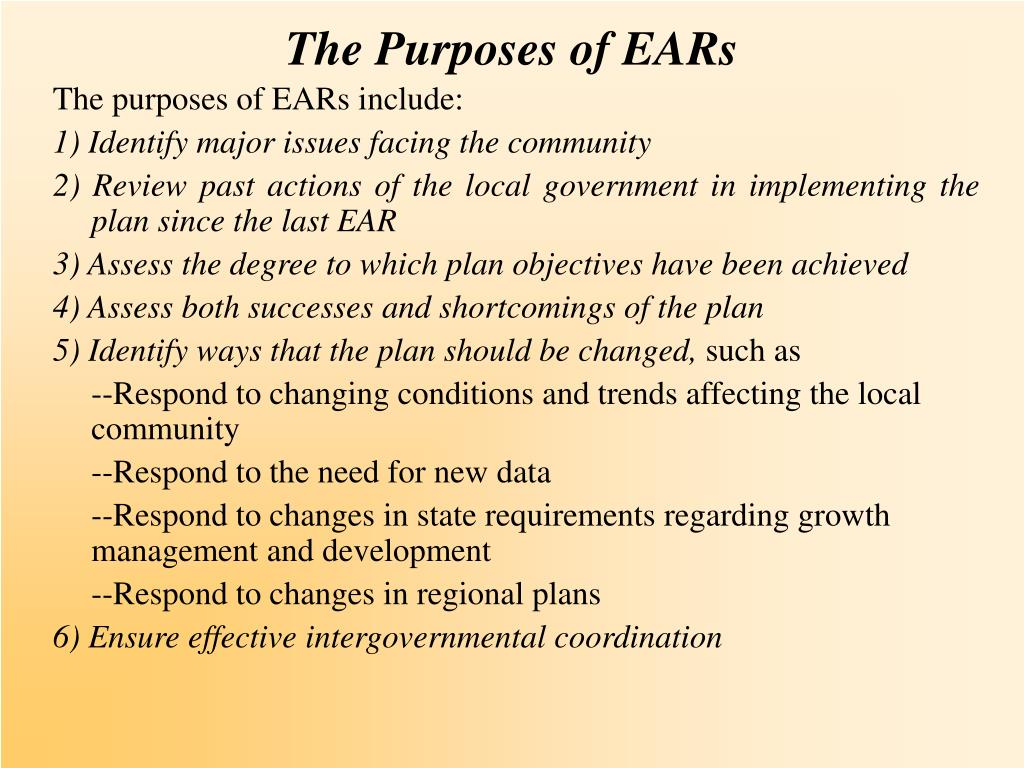 The Purposes of EARs