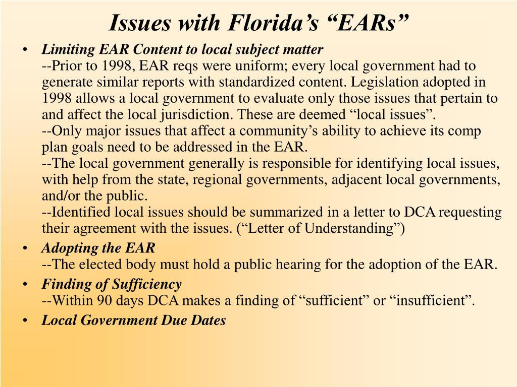 "Issues with Florida's ""EARs"""