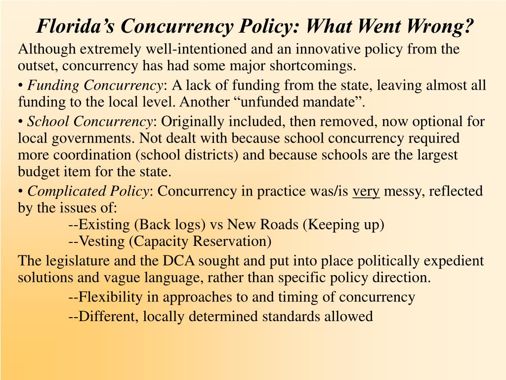 Florida's Concurrency Policy: What Went Wrong?