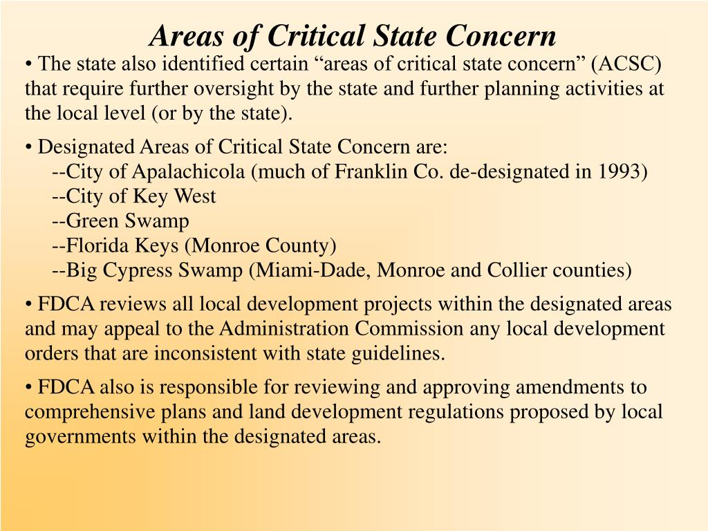 Areas of Critical State Concern