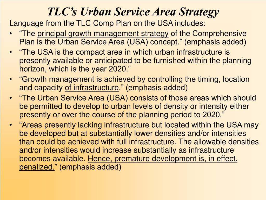 TLC's Urban Service Area Strategy