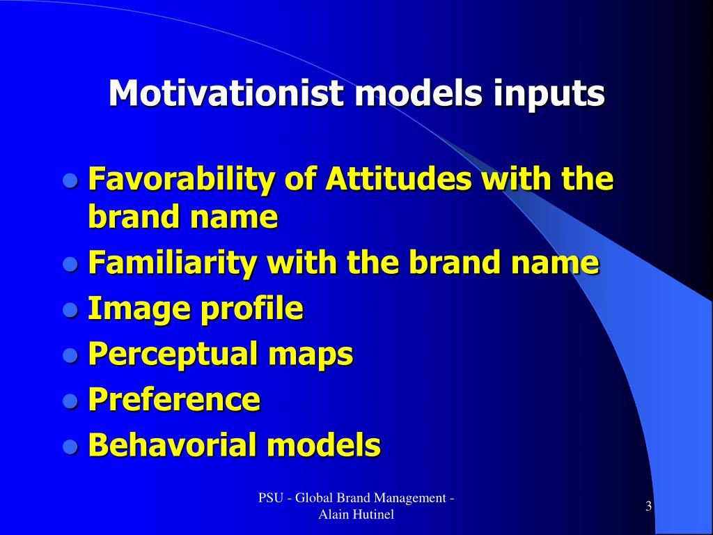 Motivationist models inputs