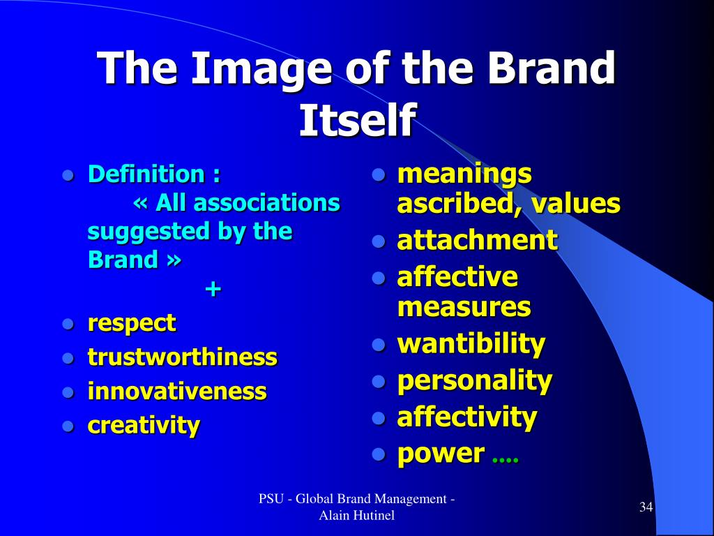 Definition :« All associations suggested by the Brand »+