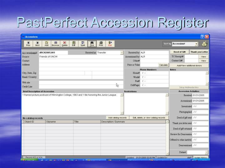 PastPerfect Accession Register