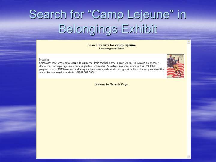 "Search for ""Camp Lejeune"" in Belongings Exhibit"