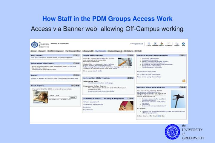 How Staff in the PDM Groups Access Work