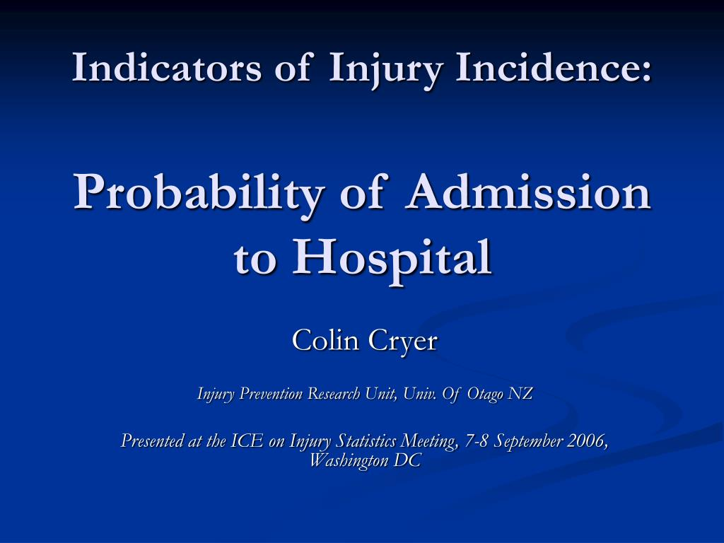 Indicators of Injury Incidence: