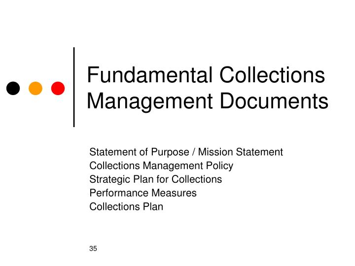 Fundamental Collections Management Documents