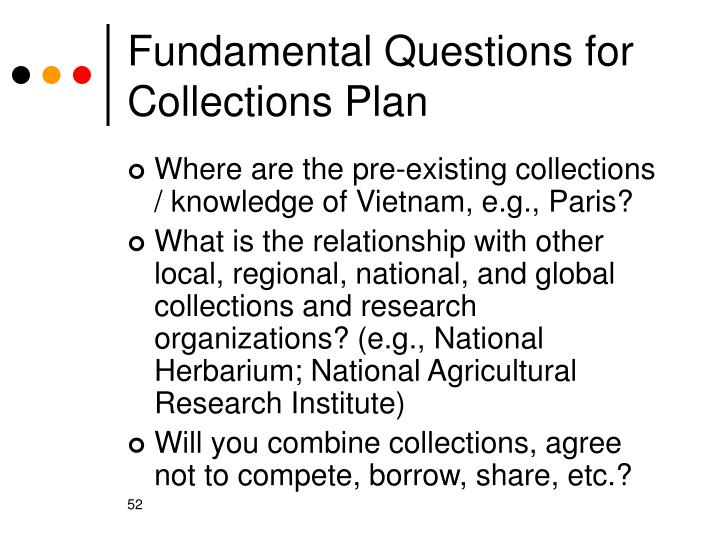 Fundamental Questions for  Collections Plan