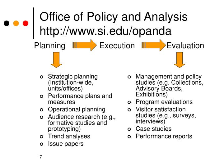 Strategic planning (Institution-wide, units/offices)