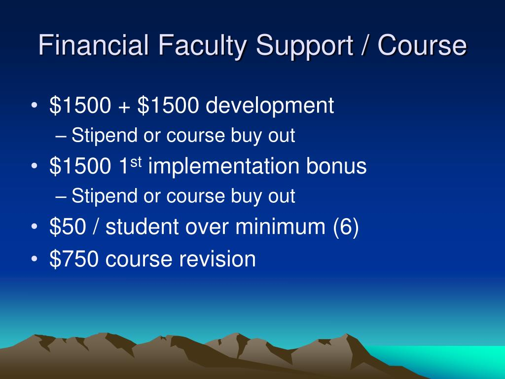 Financial Faculty Support / Course