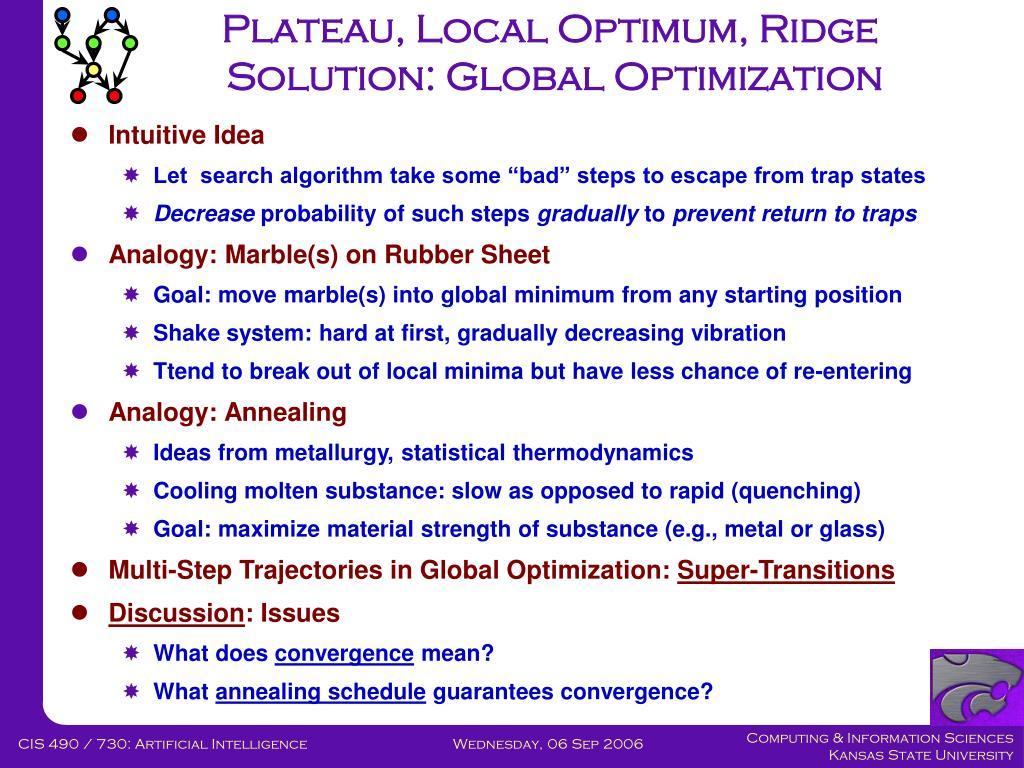 Plateau, Local Optimum, Ridge