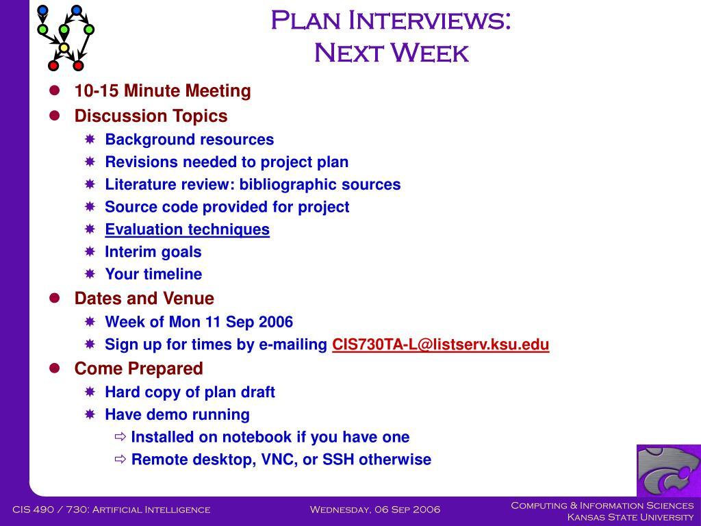 Plan Interviews: