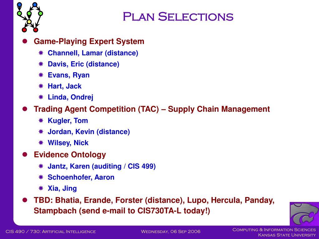 Plan Selections
