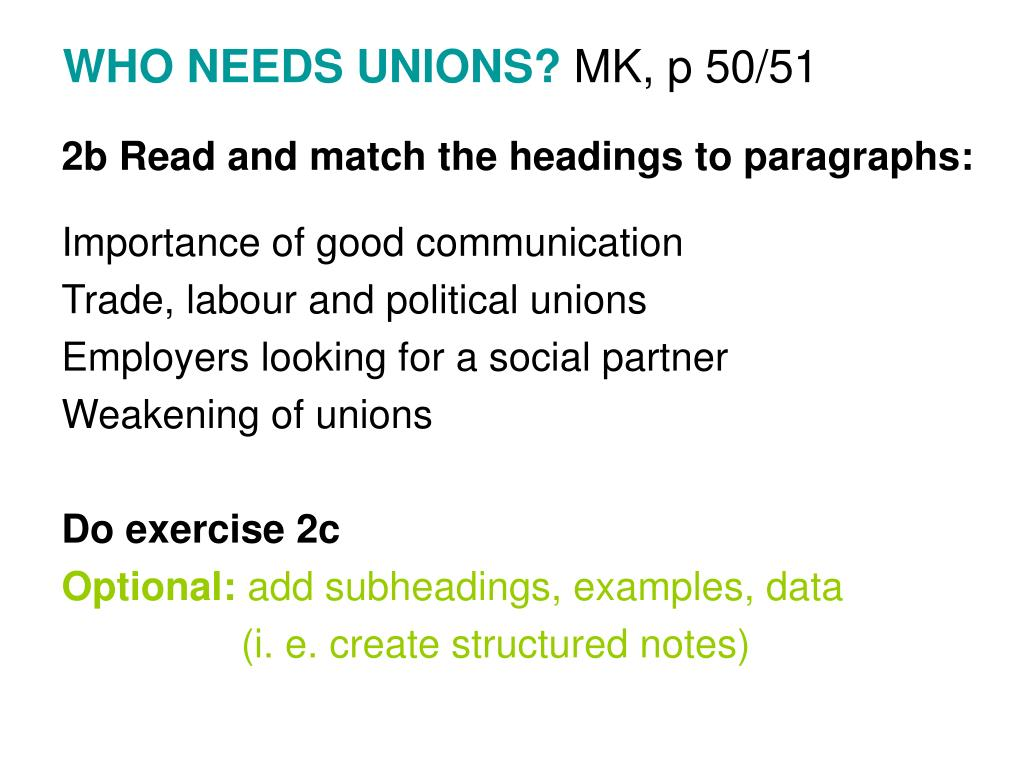 WHO NEEDS UNIONS?