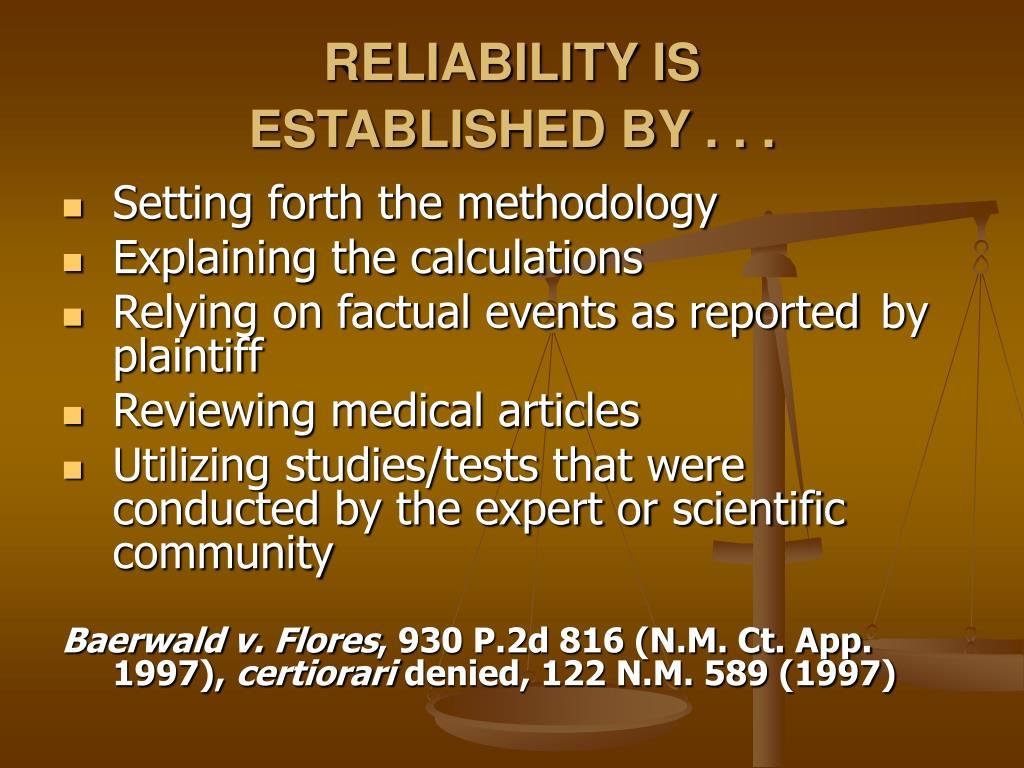 RELIABILITY IS