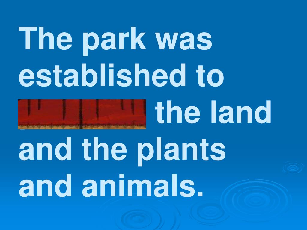 The park was established to preserve the land and the plants and animals.