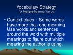 vocabulary strategy for multiple meaning words