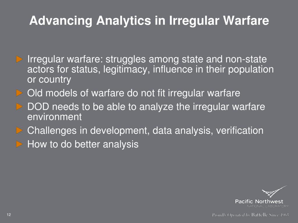 Advancing Analytics in Irregular Warfare