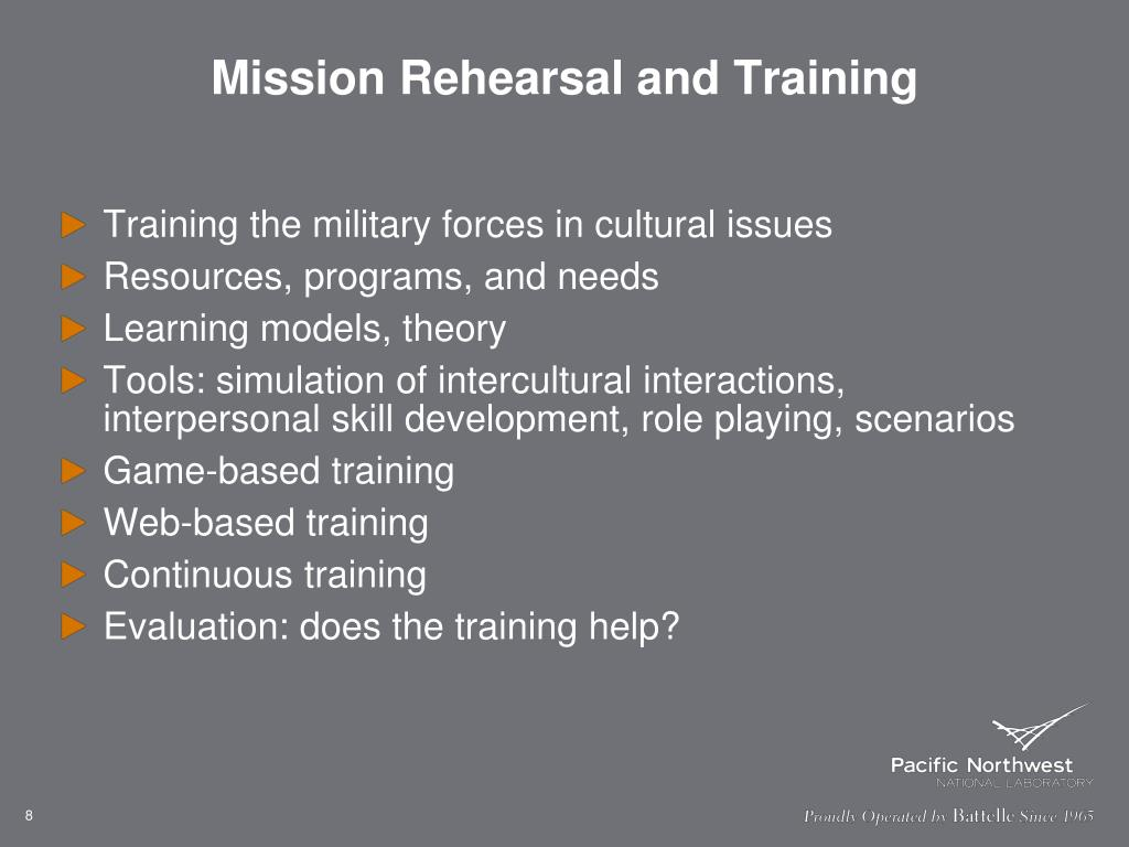 Mission Rehearsal and Training