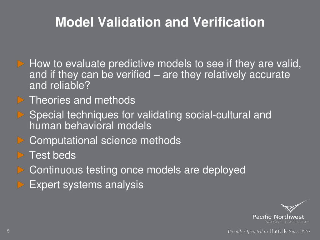Model Validation and Verification