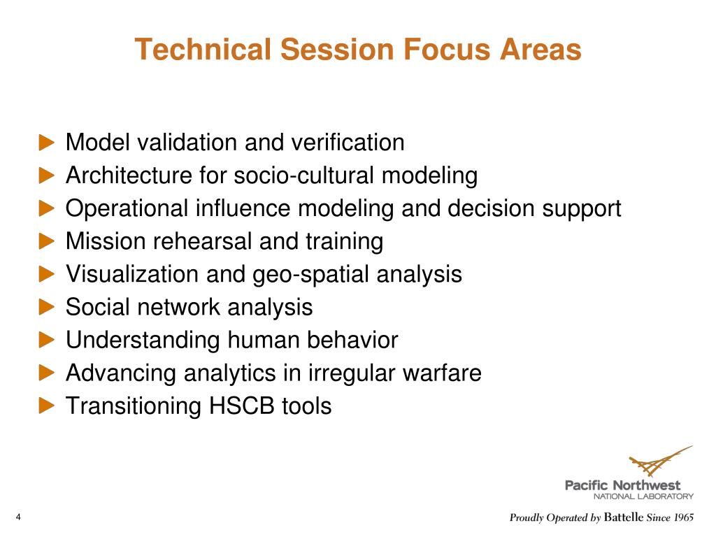 Technical Session Focus Areas