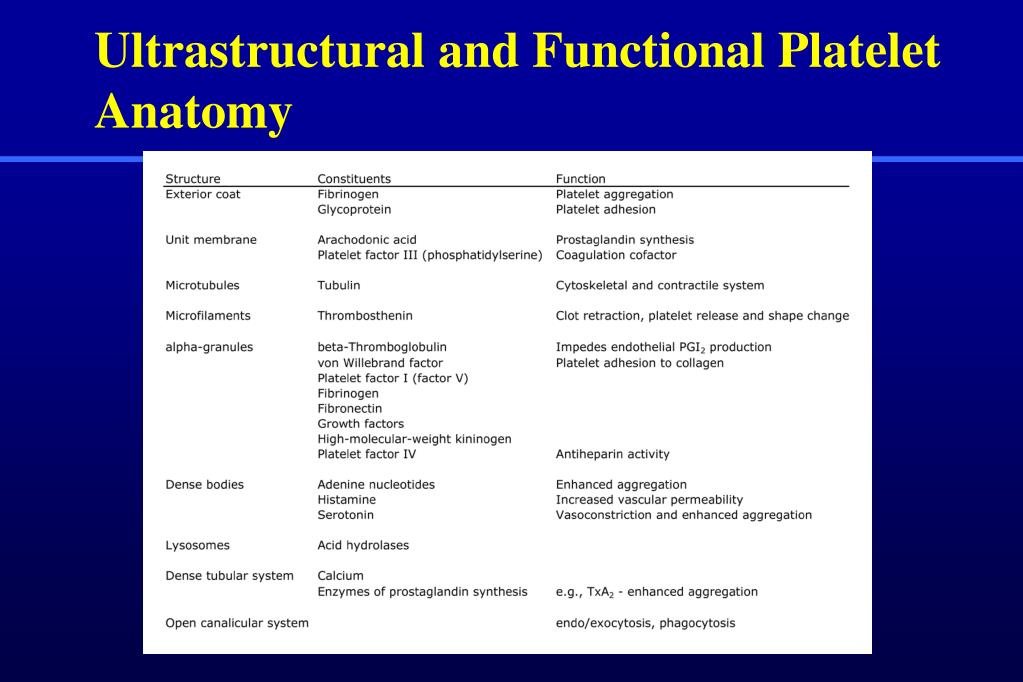 Ultrastructural and Functional Platelet Anatomy