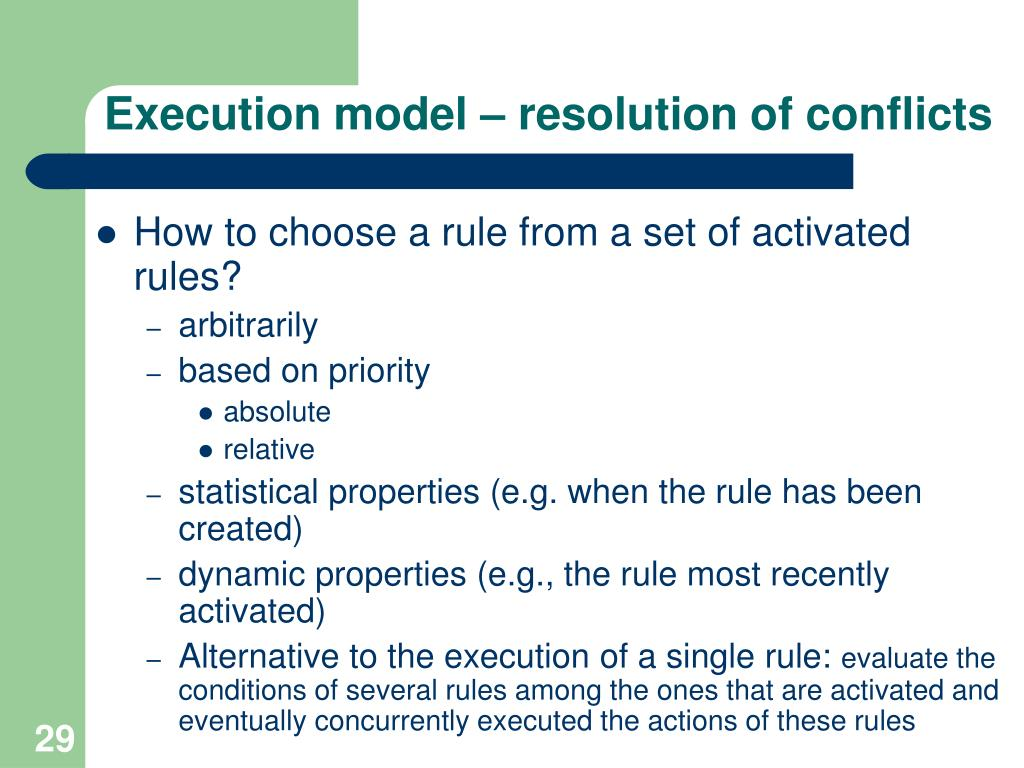 Execution model – resolution of conflicts