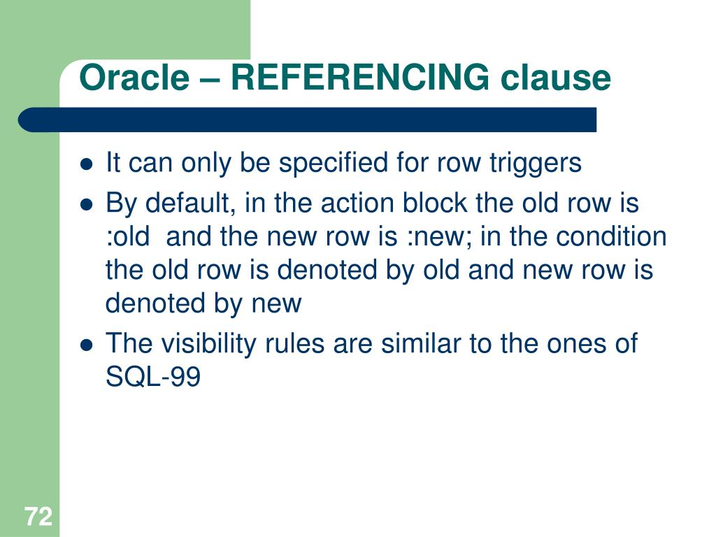 Oracle – REFERENCING clause