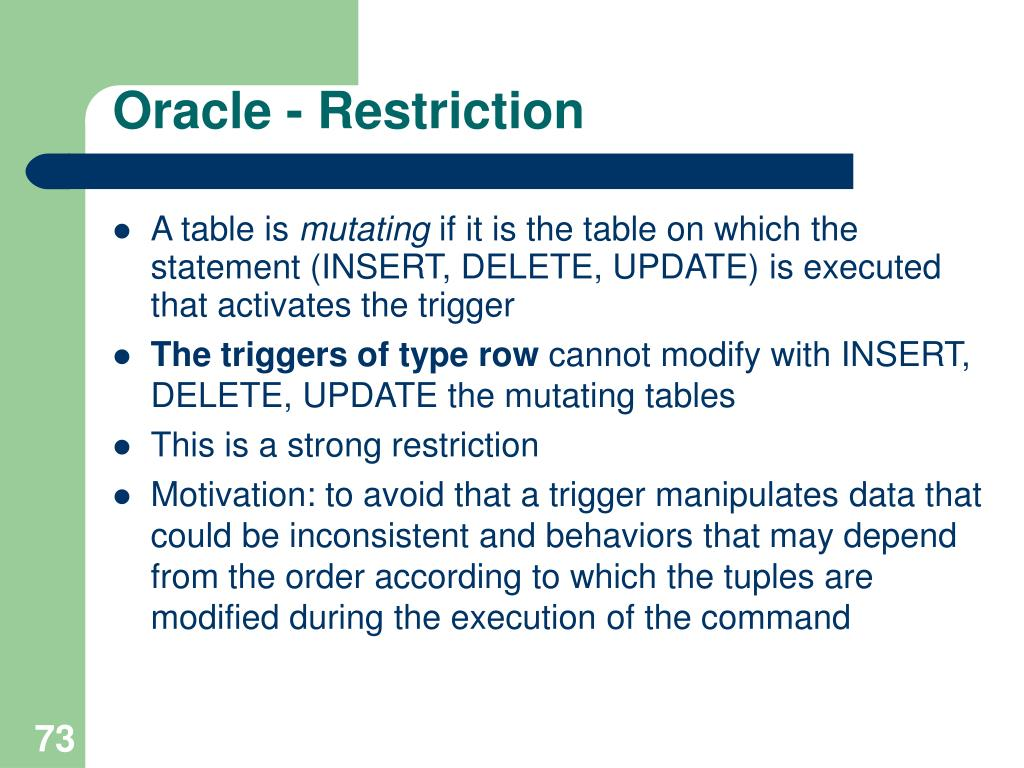 Oracle - Restriction