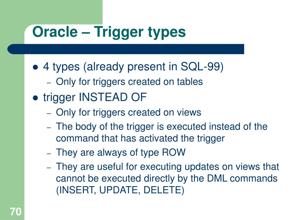 Oracle – Trigger types