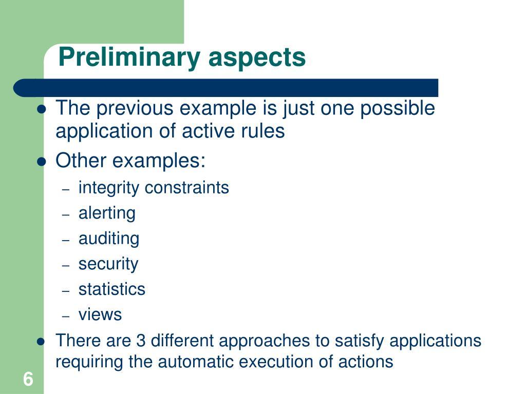 Preliminary aspects