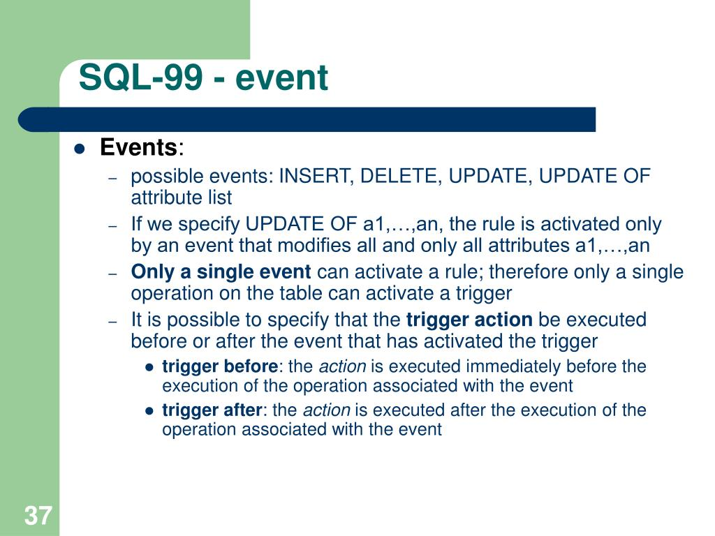 SQL-99 - event