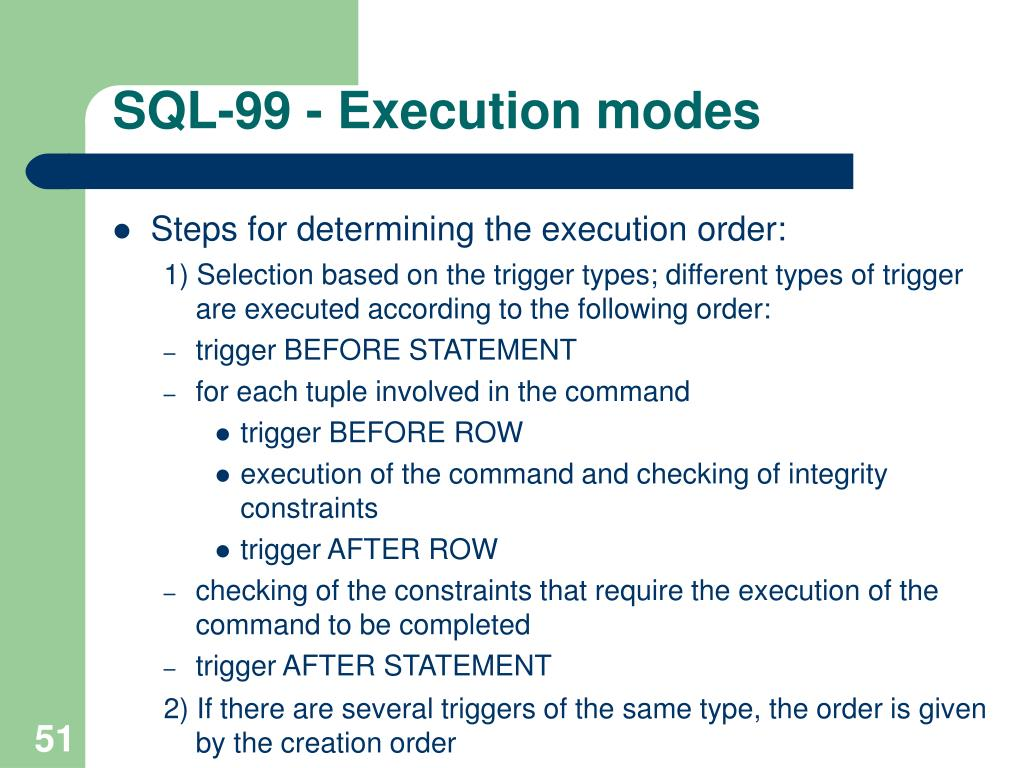 SQL-99 - Execution modes